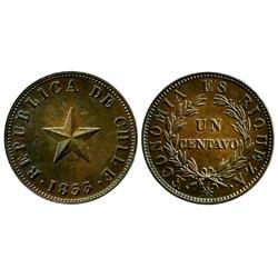 Santiago, Chile, copper 1 centavo, 1853.