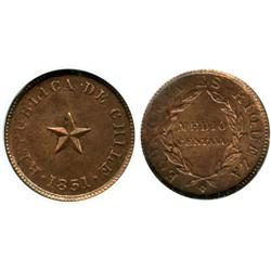 Santiago, Chile, copper 1/2 centavo, 1851, raised star, encapsulated NGC MS 63 RB, ex: Whittier coll