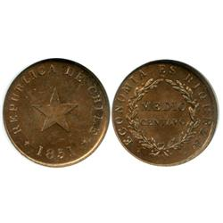 Santiago, Chile, copper 1/2 centavo, 1851, flat star, encapsulated NGC MS 63 RB, ex: Whittier collec