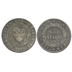 Popayan, Colombia, 2 reales, 1862, 6/sideways 6 in date, 1-year type.