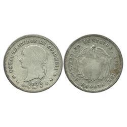 """Bogota, Colombia, 50 centavos, 1872, denomination as """"50."""""""