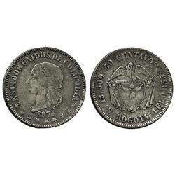 """Bogota, Colombia, 50 centavos, 1874, denomination as """"50."""""""
