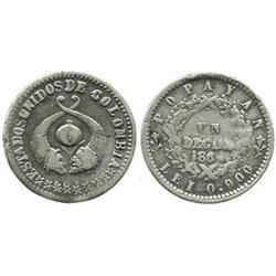 Popayan, Colombia, 1 decimo, 1864.