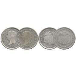 Lot of 2 Bogota, Colombia, 5 decimos, 1869.