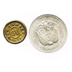 "Lot of 2 Colombian coins: One Bogota silver ""mint door"" peso (bicentennial commemorative), 1956; one"