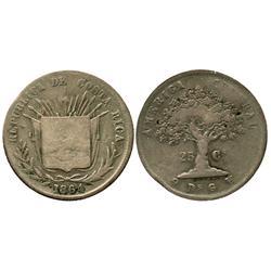 Costa Rica, 25 centavos, 1864GW, small 25.