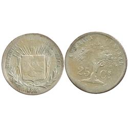 Costa Rica, 25 centavos, 1865GW, large 25.