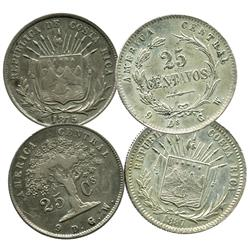Lot of 2 Costa Rica 25 centavos, 1875 and 1887.