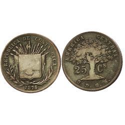Costa Rica, 25 centavos, 1875GW, large 25.
