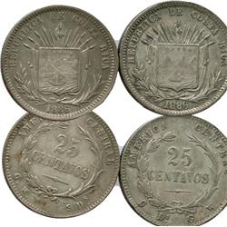 Lot of 2 Costa Rica, 25 centavos, 1886GW, both varieties (assayer left/right).