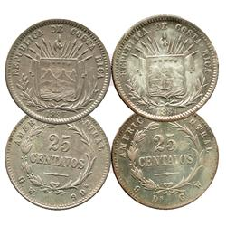 Lot of 2 Costa Rica, 25 centavos, 1887GW, both varieties (assayer left/right).