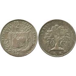 Costa Rica, 10 centavos, 1870GW.