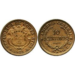 Costa Rica, brass 10 centimos, 1921, ex-Whittier collection.