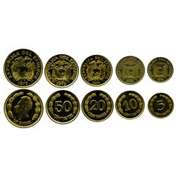 Ecuador, set of 5 brass souvenir patterns (5c, 10c, 20c, 50c and 1 sucre) released in 1977 but dated