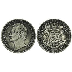 Saxony, Germany, thaler, 1865-B.