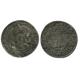 England (London mint), shilling, Edward VI (1547-53), mintmark tun (1551-3).