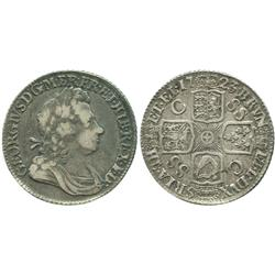 London, England, shilling, George I, 1723-SSC (South Seas Company).