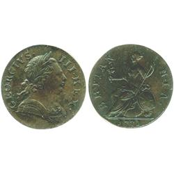 London, England, copper half penny, George III, 1771, encapsulated ANACS EF-40.