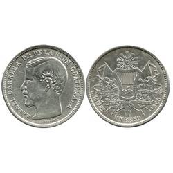 Guatemala, 1 peso, 1865-R (large R), Carrera.