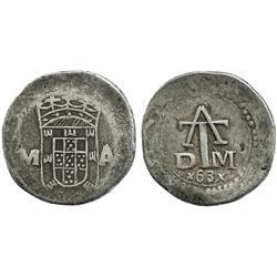 Portuguese India, 4 tangas, Philip III, (1)63(x), rare, possible counterfeit.