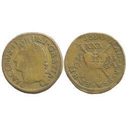 """Ireland, copper """"gunmoney"""" half crown, James II, 1690 (July)."""