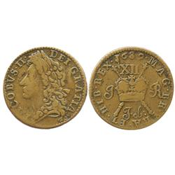 Ireland, copper  gunmoney  shilling, James II, 1689 (February).