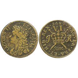 "Ireland, copper ""gunmoney"" sixpence, James II, 1689 (June)."