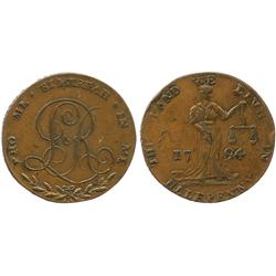 "Ireland, copper halfpenny token, 1794, Dublin, ""The Land We Live In."""