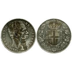 Italy (Kingdom), 5 lire, Umberto I, 1879-R.