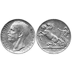 Italy (Kingdom), 10 lire, Vittorio Emmanuel III, 1926-R, *FERT* on edge, rare.