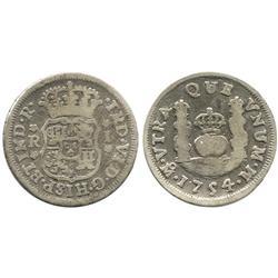 Mexico City, Mexico, pillar 1 real, Ferdinand VI, 1754/3M, rare overdate.