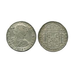 Mexico City, Mexico, bust 8 reales, Charles III, 1784FM, interesting die crack.