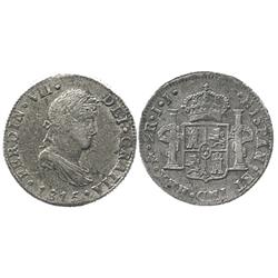Mexico City, Mexico, bust 2 reales, Ferdinand VII, 1815JJ.