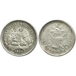 Hermosillo, Mexico, 25 centavos, 1884M.