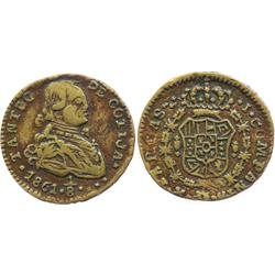 Municipal Cotija, brass 1/8 real hacienda token, 1861.