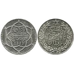 Morocco (bi-Bariz mint),  rial (10 dirhams), 'Abd al-Aziz, 1911 (AH 1329Pa).
