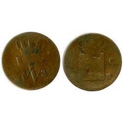 Netherlands (Kingdom), copper 1 cent, William I, 1821-B, very rare key date (lowest mintage).