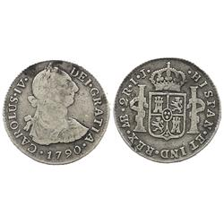 Lima, Peru, bust 2 reales, Charles IV transitional (bust of Charles III, ordinal IV), 1790IJ.