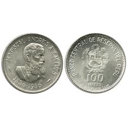 Peru, 100 intis (reform coinage), 1986, Caceres commemorative.