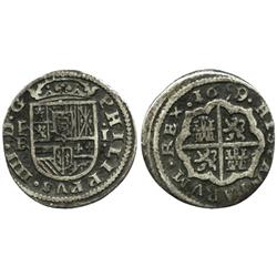 "Segovia, Spain, milled 1 real ""half pistareen,"" Philip IV, 1659/1BR."