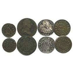 Lot of 4 miscellaneous Spanish minors: Segovia, copper 16 maravedis, Philip IV, 1661S; Madrid, coppe