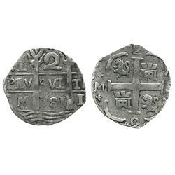 "Caracas, Venezuela, ""imitation cob"" 2 reales, ""781"" date (early 1800s)."