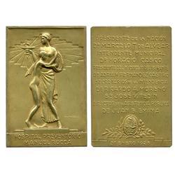 "(Buenos Aires), Argentina, vermeil (gilt silver) medal (""PLATA"" on edge), 1928, Manuel Roca Hospital"