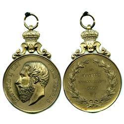 Belgium, large brass medal, Leopold II, 1883.