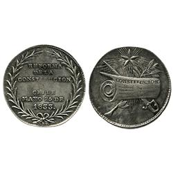 "Chile, silver 4-reales ""CONSTITUCION"" medal, 1833, coin alignment."