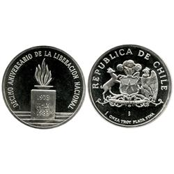 "Santiago, Chile, proof silver ""LIBERACION"" medal, 1983, coin alignment."