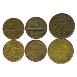 Lot of 3 copper medals of Santiago, Chile: 1875 (Exposicion Internacional), 1898 (Guardia Nacional),