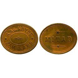 """Zambrano, Colombia, oval copper """"mitad"""" token, A.A. de Hoyos, 1913(?)."""