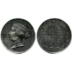 Spain, pewter medal, Isabel II, 1859, Hispano-Moroccan War.