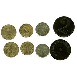 Lot of 4 Venezuelan brass, copper and copper-nickel tokens, late 1800s-early 1900s, various merchant